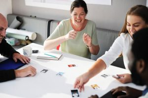 Woman socialising with friends from new job