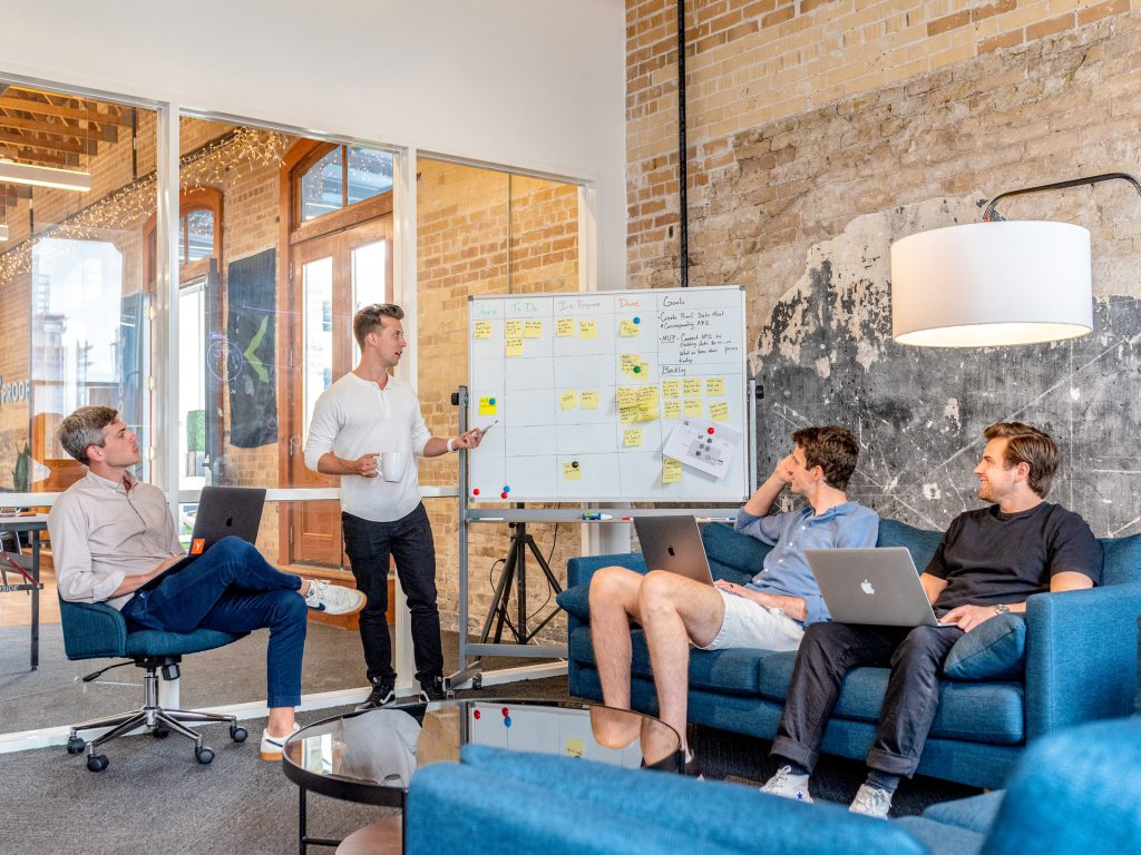 An IT team brainstorming