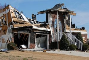 Photograph of house destroyed by fire taken by fire restoration services